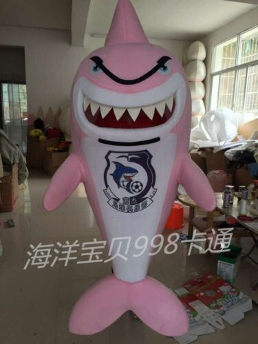 Pink Shark Mascot Costume Cosplay Party Game Dress Advertising Halloween Adult @