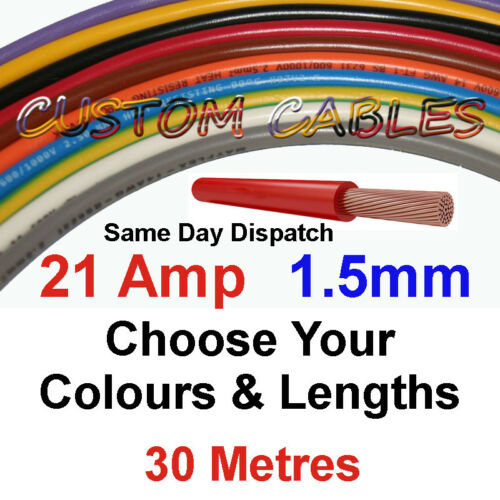 30m RED 21A 12v BOAT POWER CABLE 21 AMP 1.5mm//sq MARINE WIRING 21 AMP 12 VOLT