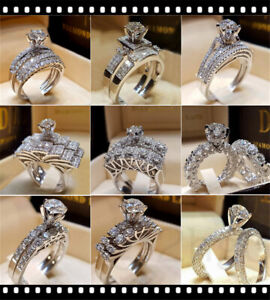 Women-Engagement-Wedding-Ring-Crystal-Rhinestone-White-Gold-Plated-Jewelry