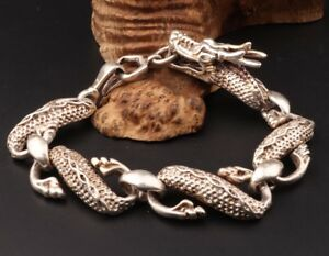 China/'s exquisite Tibetan silver hand-carved multicolored bracelet