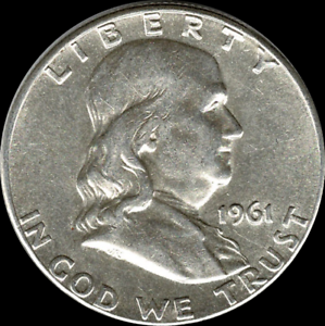 """A 1961 D Franklin Half Dollar 90/% SILVER US Mint /""""About Uncirculated/"""""""
