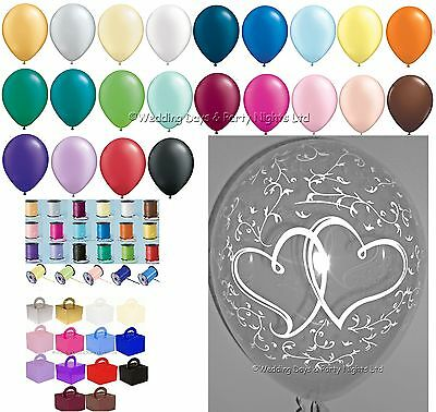 10 Table Entwined Heart Helium Balloons Ribbon Weights Wedding Engagement Party