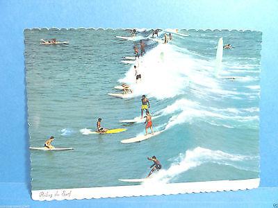 Modern Postcard Waikiki Hawaii Honolulu Oahu Montage Whale Surfing Hula Dancer