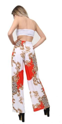 New Ladies Floral Flared Trousers Wide Leg Baggy Palazzo Elasticated Loose Fit