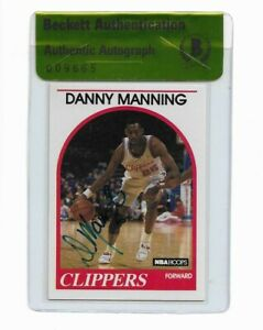KANSAS DANNY MANNING signed autographed 1989-90 HOOPS ROOKIE CARD RC BECKETT BAS