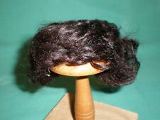 """doll wig/ mohair black/brown 7"""" to 8""""/pageboy haircut curled"""