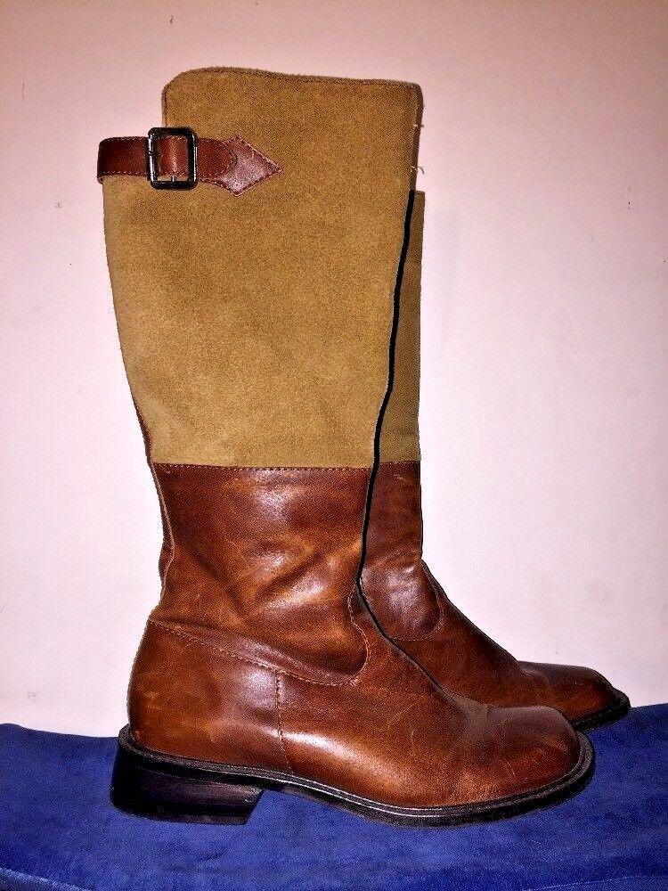 J JILL Cowboy Knee High Riding Boots High Heel Leather 2 Tone Women shoes Sz 8.5