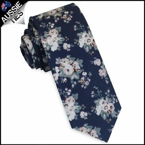 Navy-with-Dusky-Pink-amp-White-Floral-Pattern-Skinny-Tie