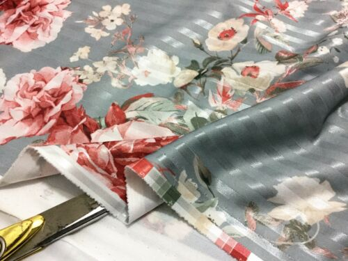 *NEW*Stretch Jacquard Roses Striped Weave Dress//Craft//Cushions//Curtains Fabric
