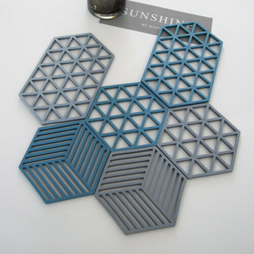 3 Pack Silicone Trivet Mat Pot holder Countertop Heat Resistant Pads Placemats