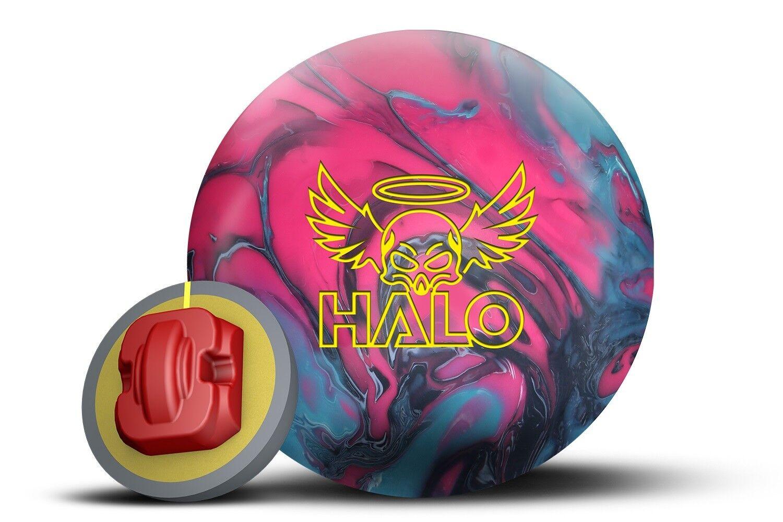 14lb redo Grip HALO Solid Reactive Bowling Ball COAL FUCHSIA SKY blueE