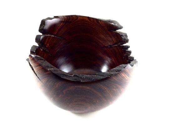 Natural Edge Cocobolo Wood Bowl Handmade dark braun