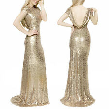 US Womens Sequins Prom Ball Gown Cap Sleeve Backless Glitter Long Maxi Dress 2XL