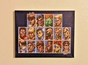 Street Fighter Character Select Canvas Print 90s Retro Game Room