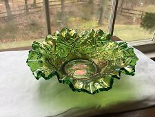 Millersburg carnival glass green Holly Whirling leaves ruffled edge bowl