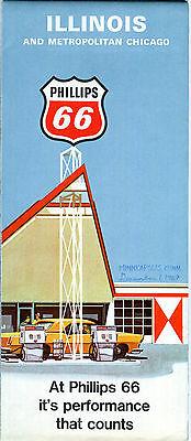 1970 Phillips 66 Illinois Vintage Road Map