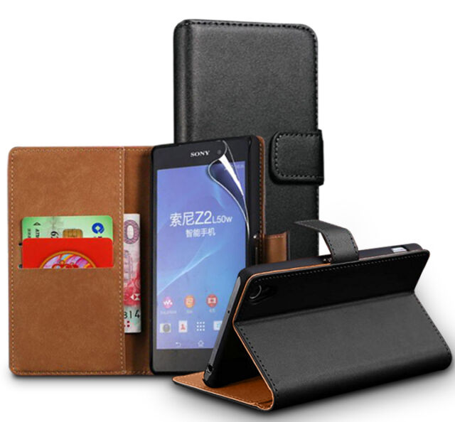 Genuine Real Leather Wallet stand case cover for Sony Xperia Models
