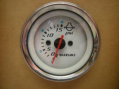 """Suzuki Outboard Parts 2"""" Water Pressure Gauge (15psi) - White 34650-93J31"""