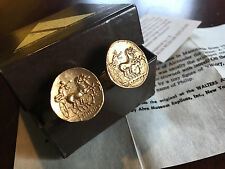 Vintage Apollo Horse Drawn Chariot Gold Coin Statement Cufflinks - Alva Museum