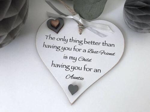 Best Friend Auntie Heart Gift ShabbyChic Birthday Keepsake Sign Plaque S12
