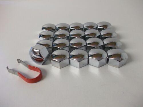 Wheel Nut Covers 17mm Chrome Fit Citroen C2 C3 C4 Cactus & Picasso C5 (PE1220)