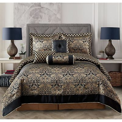 Luxuriously Sophisticated 7 Pc Jacquard Black And Gold Floral