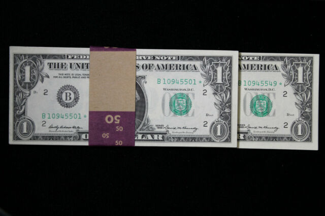 Series 1969 $1 Federal Reserve Notes Fr-1901-B Star Note