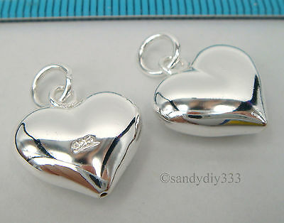 1x BRIGHT STERLING SILVER DANDLE PUFF HEART CHARM PENDANT 14.3mm N534