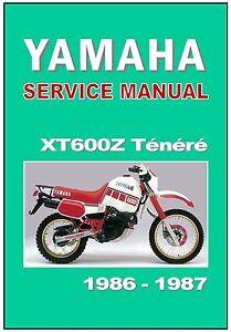 yamaha workshop manual xt600 tenere xt600z 1986 1987 service rh ebay com yamaha xt 600 z tenere service manual Yamaha XT 600 Tenere