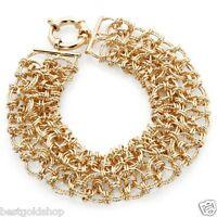 Technibond Turkish Lace Diamond Cut Bracelet 14k Yellow Gold Clad Silver 925