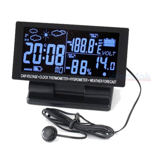 12v led Digital Clock Car F/C Thermometer Hygrometer Voltage Weather Forecast