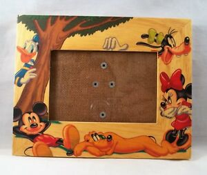 Walt Disney Wooden Photo Frame Holds 4 X 6 Picture Mickey Minnie