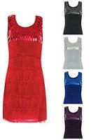 Dance Flapper Dress Salsa Fringe Blue Red Silver Black Purple S M L Xl 2x 3x