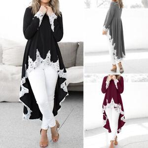 Women-Fishtail-Lace-Maxi-Dress-Long-Sleeve-Blouse-Shirt-Cocktail-Party-Tunic-Top