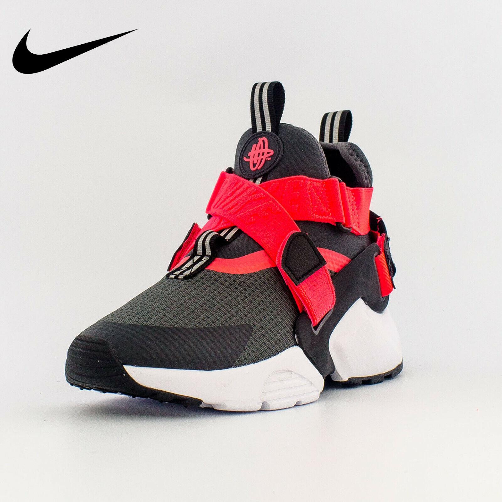 Nike Huarache City Sz 7 7y GS Big Kids' Shoes Anthracite Black Solar Red Strap