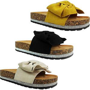 À Détails Strass Compensée Noeud Femmes Chaussure Sur Taille Mules Sandales Plateforme dohBtxsQrC