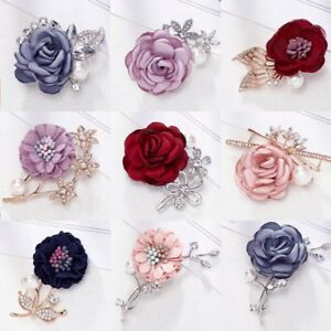 The Cheapest Price Women Rhinestone Red Rose Flower Brooch Pin Wedding Party Jewelry Gift Kindly Brooches & Pins Jewellery & Watches