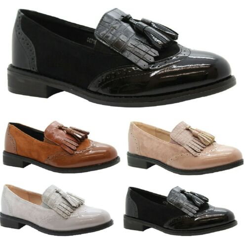 Chaussures Femme Travail Bureau Femmes BROUGUE Tassel Loafers Patent Pompes Plat Chaussures Tailles