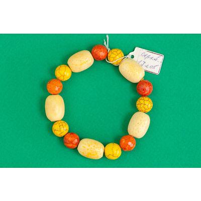 Orange Yellow Coral Bracelet Handmade Gemstone Jewelry