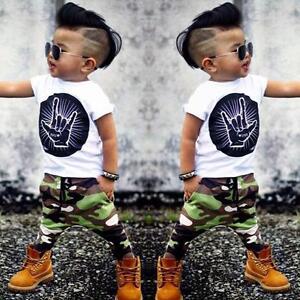 Caricamento dell immagine in corso Neonato-Bambino -Completo-Vestiti-T-Shirt-Top-Mimetica- a37c09f4e16