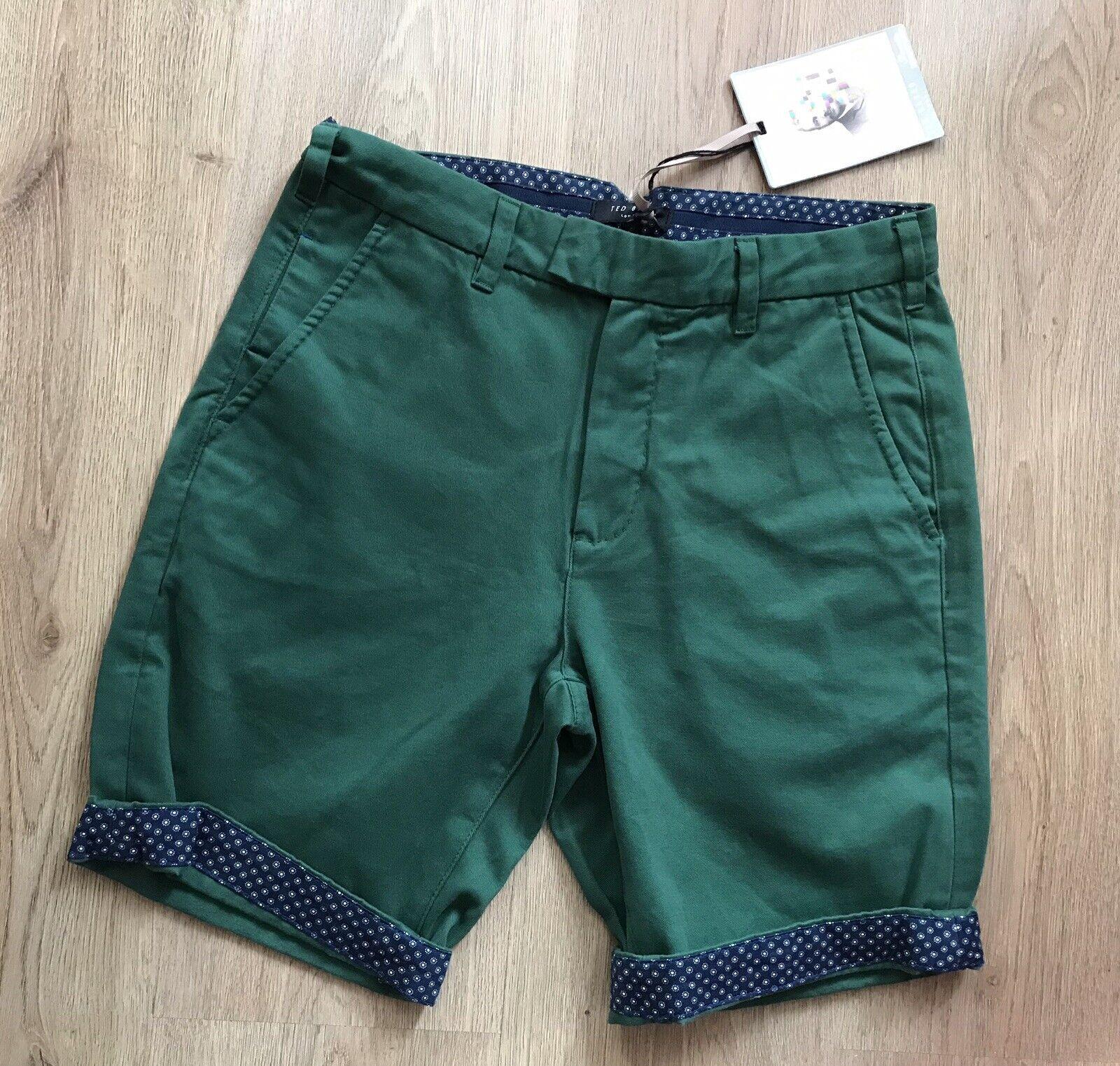! nuevo! RRP 79 Ted Baker Chino Pantalones verde botella talla 28 regular