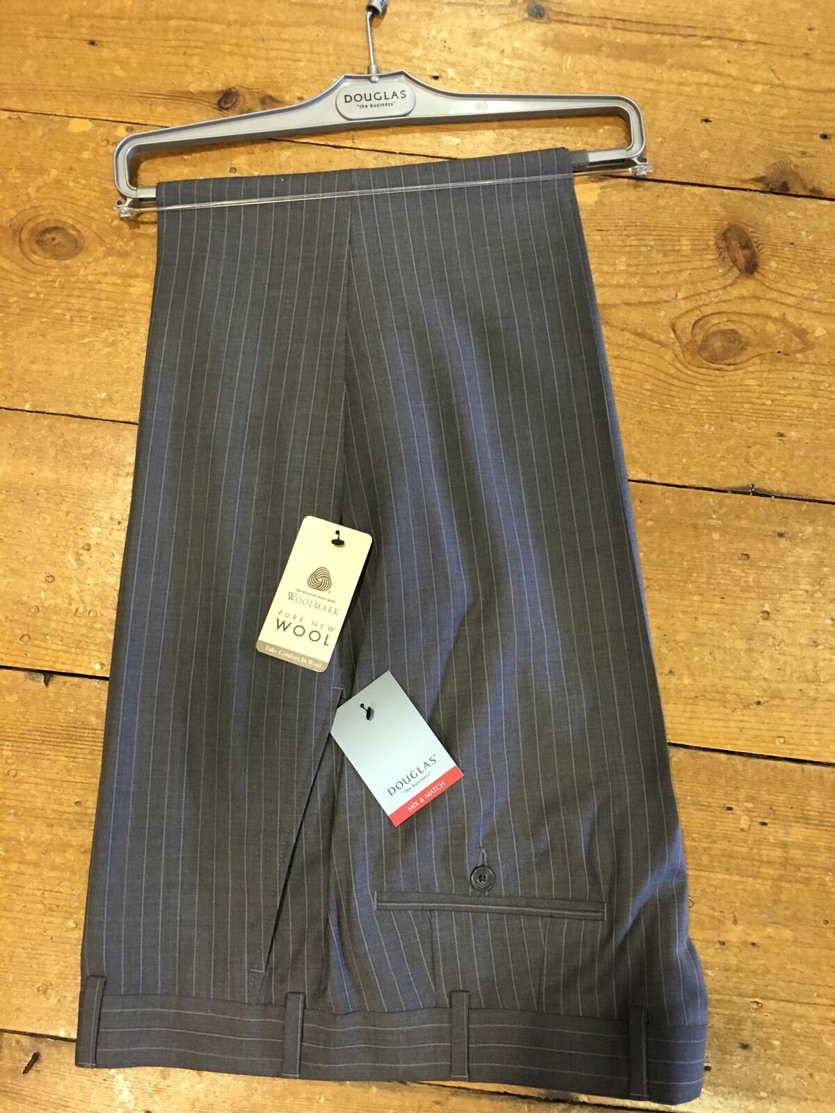 Douglas 100% Wool Striped Suit Trousers Grey - 54R. WAS .99