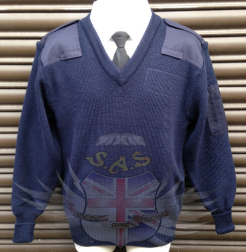 POLICE BLUE COMBAT JUMPER,NAVY WOOLLY PULLOVER REINFORCED ELBOWS /& SHOULDER PADS