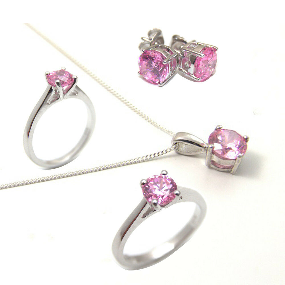Diamond-Unique Solitario Zaffiro rosa 9 Kt oro Ring Ring Ring 1 kt Anello di fidanzamento c70d63