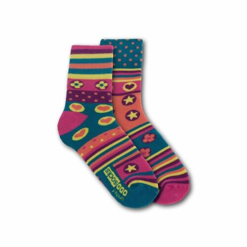 United Oddsocks printemps Paire mal assortis rayures coeurs vert UK 4-8 Pour Femme Chaussettes