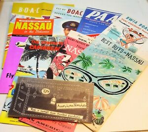Large-lot-of-travel-brochures-Nassau-Bahamas-Mid-Century-Excellent-Graphics