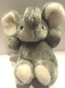 Lemonwood-Gray-Plush-Elephant-With-Trunk-Up-Black-Eyes-8-034-Tall