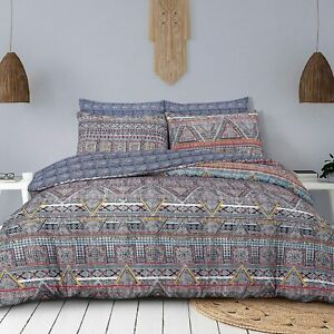 Duvet-Set-Cover-King-Size-Bedset-Cotton-Navy-BoHo-Design-Bedding-Set-Revesible