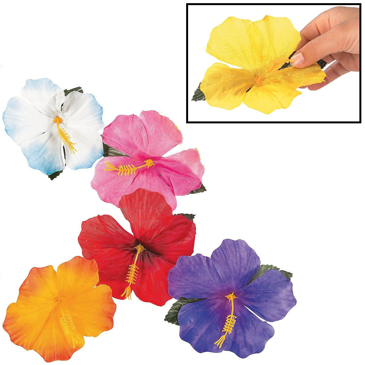 Decorative Hibiscus Flowers Polyester 24 Pieces Assorted Colors 4