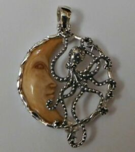 Sterling Silver Carved Bone Octopus On Moon Pendant Ebay